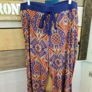 CYNTHIA ROWLEY Lounge Pants Blue Multi Color